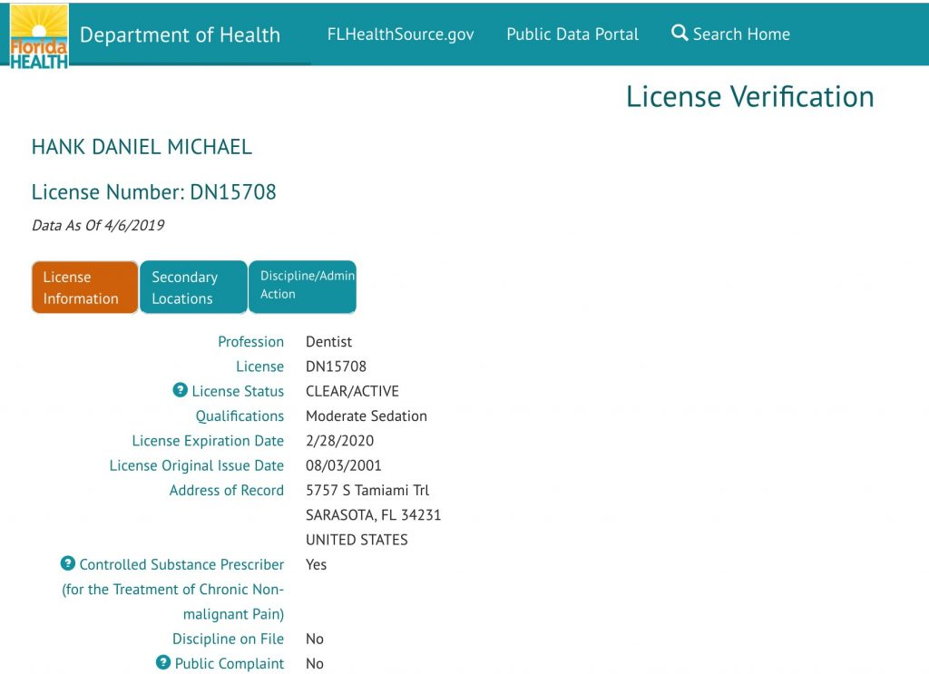 Florida Depart of Health Moderate Sedation Dentistry License for Dr. Hank D Michael DMD of Sarasota Dentistry